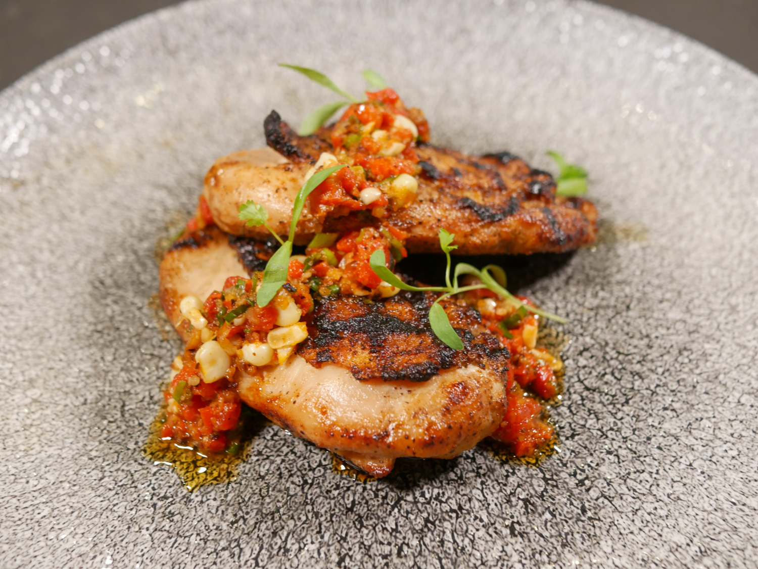 Pulehu Grilled Natural Chicken Breast with Inamona Corn Relish